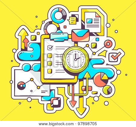 Vector Color Illustration Of Clock And Check List With Business Graphs On Yellow Background.