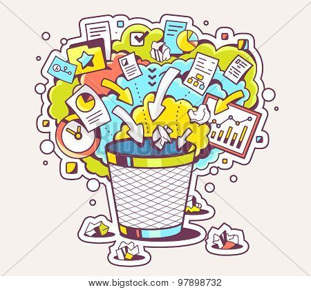 Vector Colorful Illustration Of Office Trash Can And Documents On Light Background.