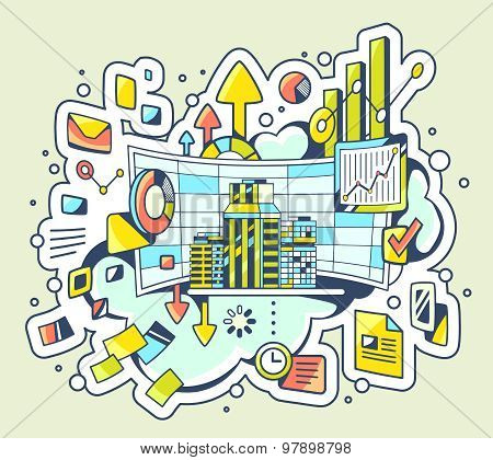 Vector Color Illustration Of Analytical Work On Light Background.