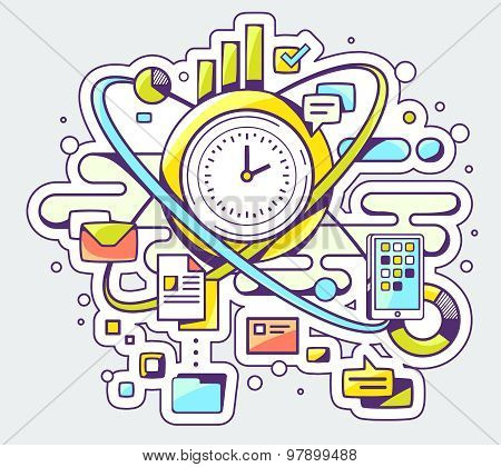 Vector Color Illustration Of Time And Business Processes On Light Background.