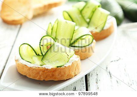 Tasty and Fresh Bruschetta on wooden background