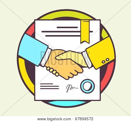 Vector Color Illustration Of Handshake With Contract Signed And Sealed On Yellow Background.