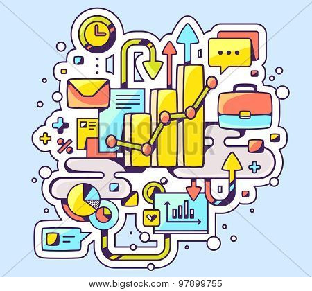 Vector Color Illustration Of Analytical Graph And Business Processes On Light Background.