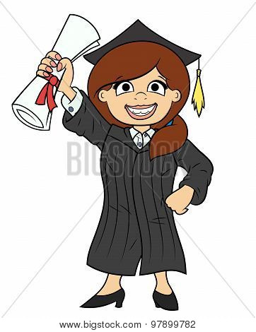 Student holding her diploma