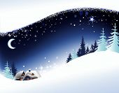 stock photo of winter landscape  - Christmas winter background with village  - JPG