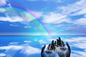 picture of end rainbow  - High Resolution Peace Rainbow ends in Hands - JPG