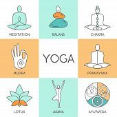 Постер, плакат: Set of linear yoga icons yoga logo in outline style