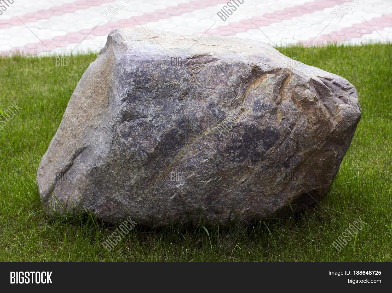Huge Granite Stone : Big granite stone on green lown image photo bigstock