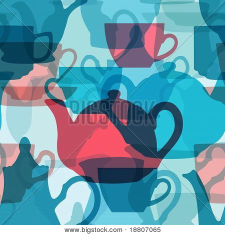 Seamless crockery background with transparency effect.