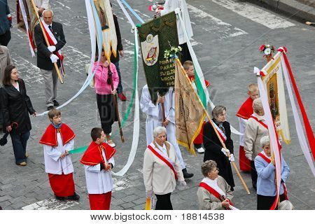 WROCLAW, POLAND - MAY 22 : Religious procession on May 22, 2008 in Wroclaw, Poland.