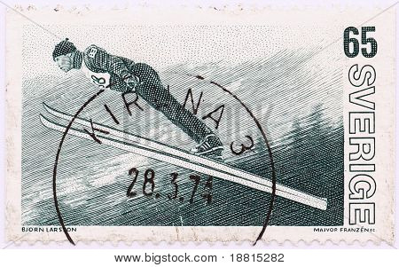 Bjorn larsson on vintage stamp from 1974