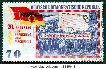 East Germany propaganda vintage  stamp