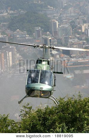 Police helicopter over Rio de Janeiro