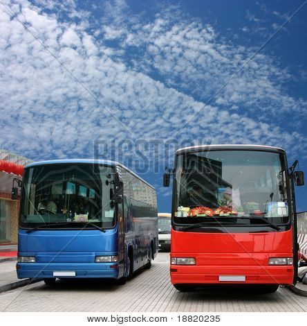Buses waiting for tourists