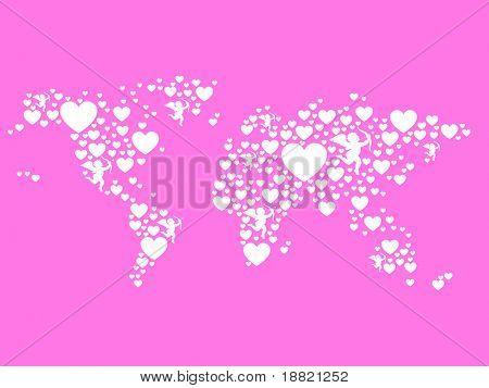Hearts pink world map