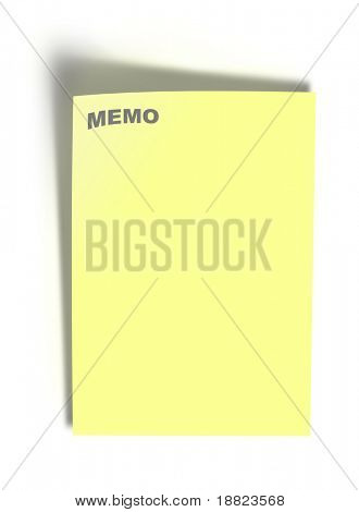 Memo yellow note paper