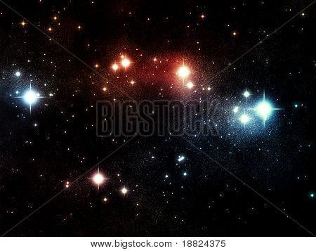 Deep space scene with nebula and stars