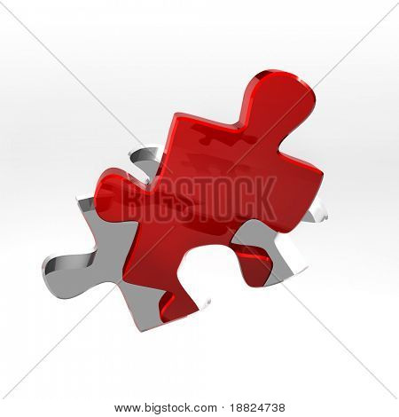 Red puzzle in a puzzle shaped hole