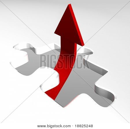 Red arrow showing business growth