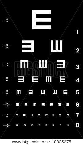Eye test chart - white on black