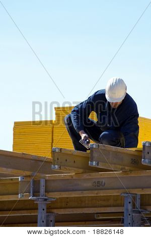 Busy construction worker