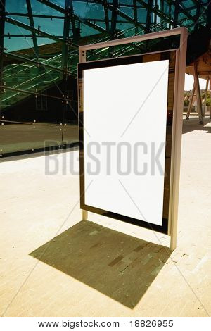 Blank ad billboard on a street