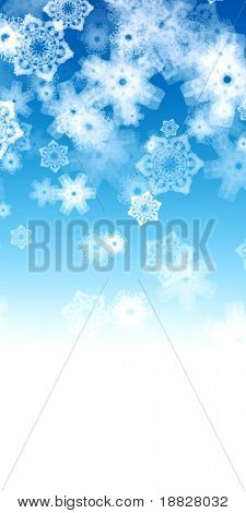 White snowflakes on blue background