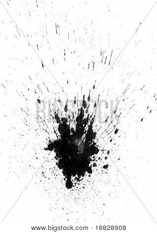 Black paint splatter on white background