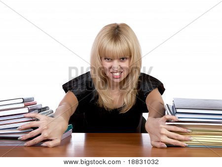 The Expressional Girl Moves Apart Piles Of Papers