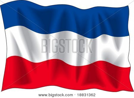 Waving flag of Serbia isolated on white