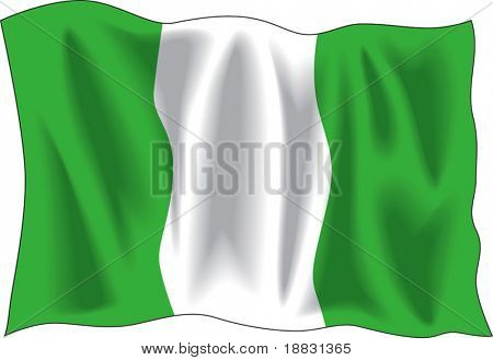 Waving flag of Nigeria isolated on white
