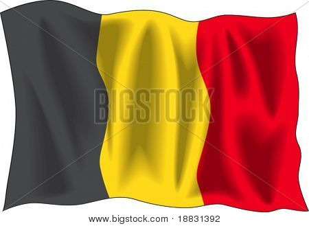 Waving flag of Belgium isolated on white
