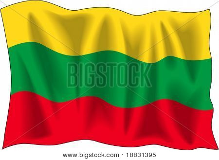 Waving flag of Lithuania isolated on white