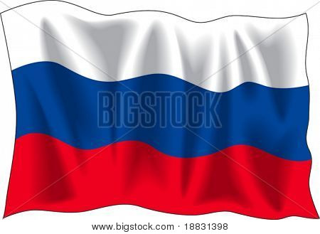 Waving flag of Russia isolated on white