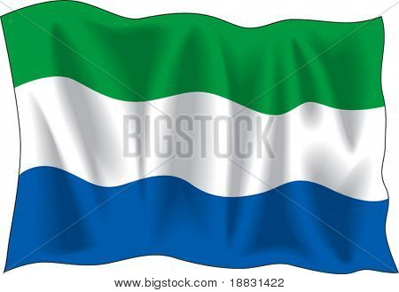 "Waving flag of ""Sierra Leone"" isolated on white"