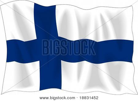 Waving flag of Finland isolated on white