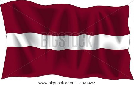 Waving flag of Latvia isolated on white