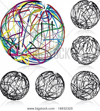 Scribble balls vector illustrated icons, every line is fully editable