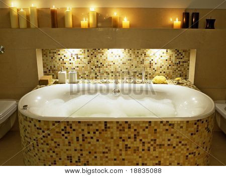 classic bathroom with many candles