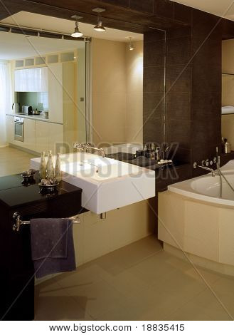 big bathroom with glass wall
