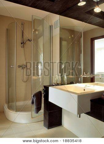 big bathroom with glass wall