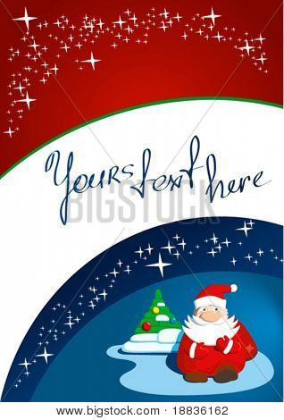 santa claus with cristmas tree and stars on blue and red background
