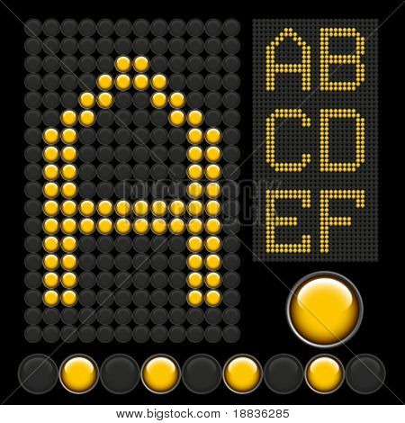 yellow button letters isolated on black board