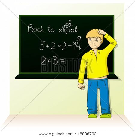 schoolboy near the board don't know the answer