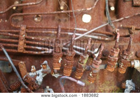 Rusted Farm Tractor Engine