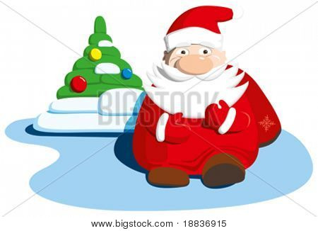 santa claus and christmas tree isolated on white baskground