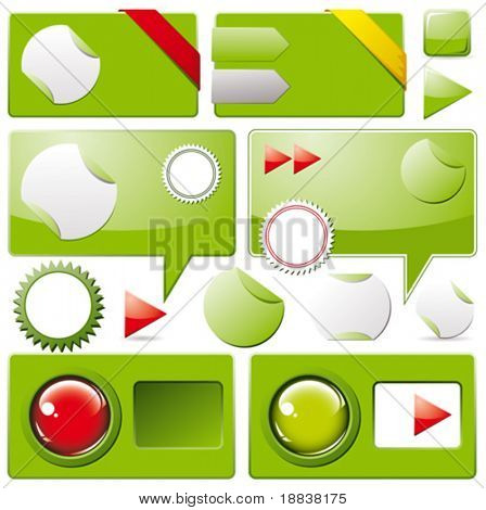 Collection of brightly colored, glossy web elements