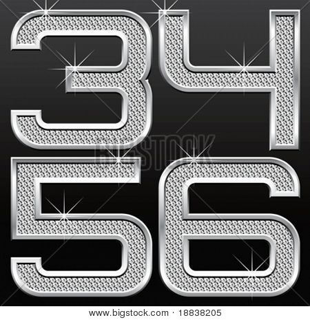 vector set of metall diamond letters and numbers