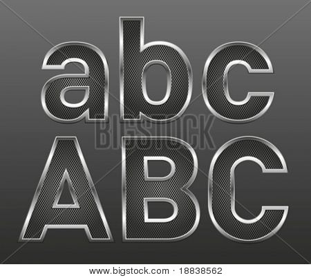 vector metal letters and numbers big and small set