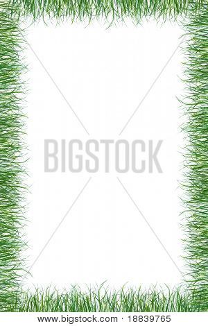 Green juicy grass paper frame background isolated border on white